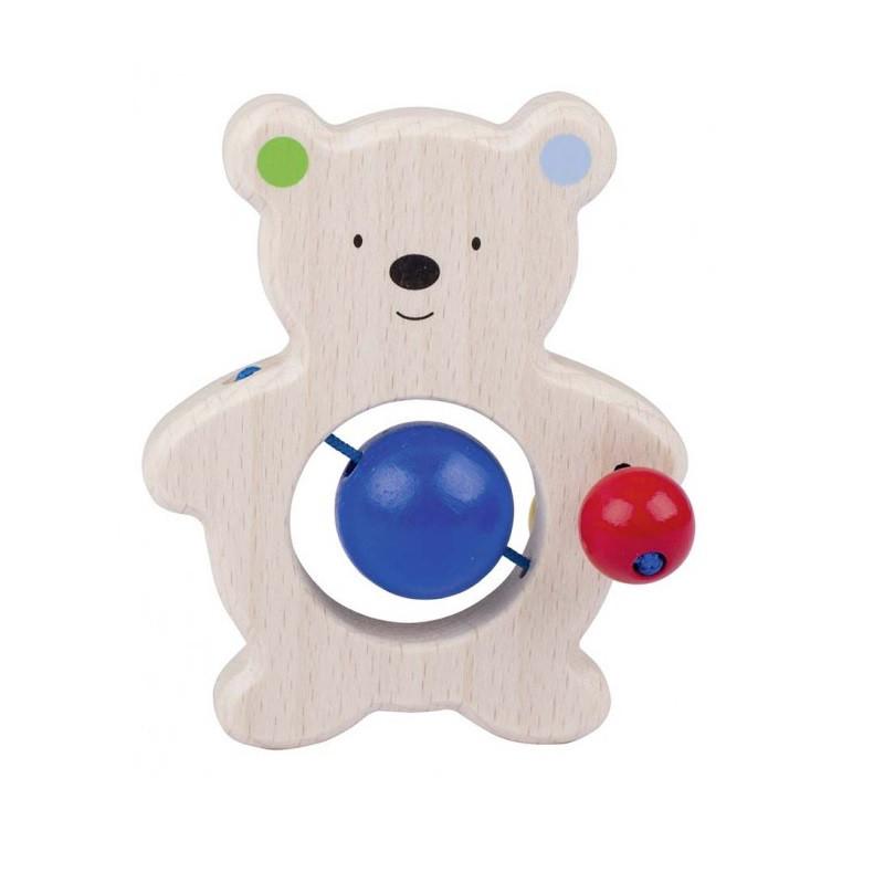 Goki Heimess rangle i træ, bjørn med perler